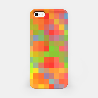 Miniaturka pixel geometric square pattern abstract in orange yellow blue green iPhone Case, Live Heroes