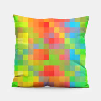 Imagen en miniatura de pixel geometric square pattern abstract in orange yellow blue green Pillow, Live Heroes