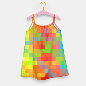 Thumbnail image of pixel geometric square pattern abstract in orange yellow blue green Girl's Dress, Live Heroes