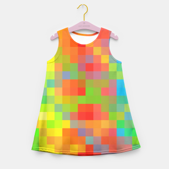 Thumbnail image of pixel geometric square pattern abstract in orange yellow blue green Girl's Summer Dress, Live Heroes