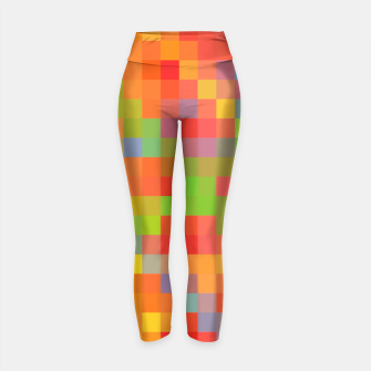 Miniatur pixel geometric square pattern abstract in orange yellow blue green Yoga Pants, Live Heroes