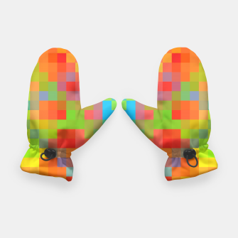Thumbnail image of pixel geometric square pattern abstract in orange yellow blue green Gloves, Live Heroes