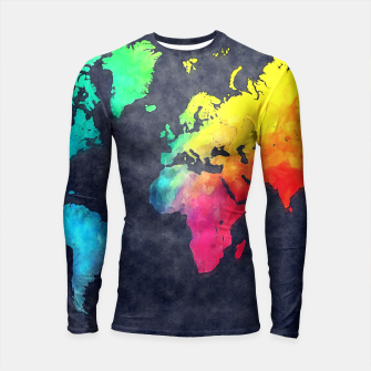 Thumbnail image of map of the world color Rashguard Długi Rękaw, Live Heroes