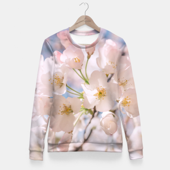 Miniaturka White Spring Cherry Trees Blossom Fitted Waist Sweater, Live Heroes
