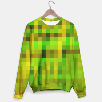 Miniatur pixel geometric square pattern abstract in green yellow brown Sweater, Live Heroes