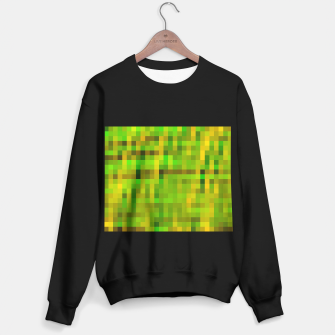 Miniatur pixel geometric square pattern abstract in green yellow brown Sweater regular, Live Heroes