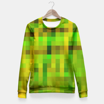 Miniaturka pixel geometric square pattern abstract in green yellow brown Fitted Waist Sweater, Live Heroes