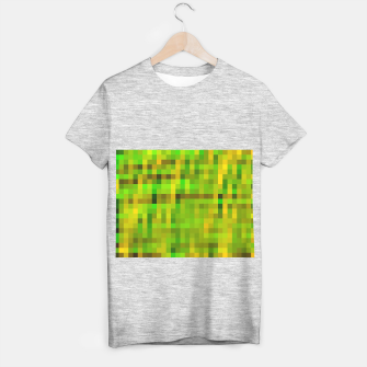 Miniaturka pixel geometric square pattern abstract in green yellow brown T-shirt regular, Live Heroes