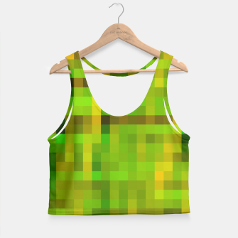 Miniatur pixel geometric square pattern abstract in green yellow brown Crop Top, Live Heroes