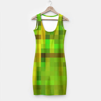 Miniaturka pixel geometric square pattern abstract in green yellow brown Simple Dress, Live Heroes