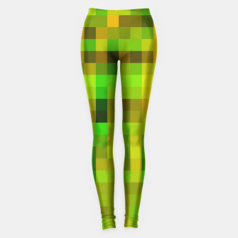 Miniatur pixel geometric square pattern abstract in green yellow brown Leggings, Live Heroes