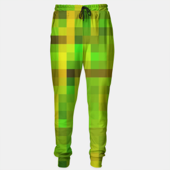 Miniaturka pixel geometric square pattern abstract in green yellow brown Sweatpants, Live Heroes