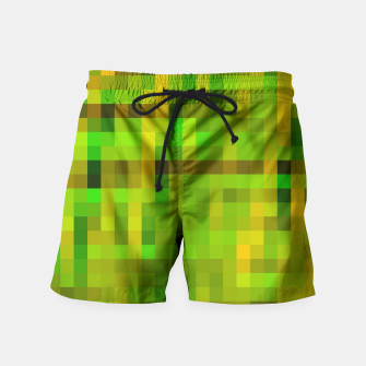 Miniaturka pixel geometric square pattern abstract in green yellow brown Swim Shorts, Live Heroes