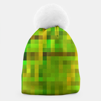 Imagen en miniatura de pixel geometric square pattern abstract in green yellow brown Beanie, Live Heroes