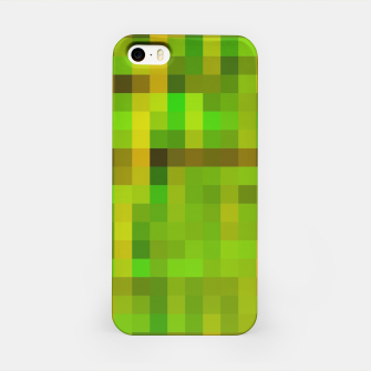 Miniaturka pixel geometric square pattern abstract in green yellow brown iPhone Case, Live Heroes