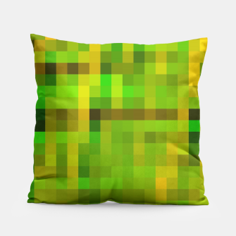 Imagen en miniatura de pixel geometric square pattern abstract in green yellow brown Pillow, Live Heroes