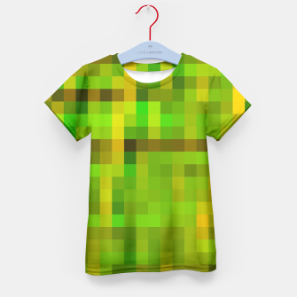 Miniatur pixel geometric square pattern abstract in green yellow brown Kid's T-shirt, Live Heroes