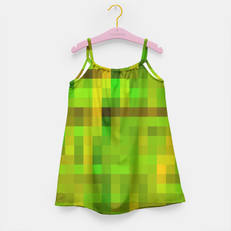 Miniatur pixel geometric square pattern abstract in green yellow brown Girl's Dress, Live Heroes