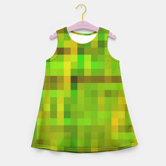 Miniatur pixel geometric square pattern abstract in green yellow brown Girl's Summer Dress, Live Heroes