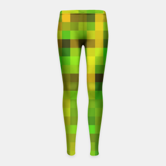 Miniaturka pixel geometric square pattern abstract in green yellow brown Girl's Leggings, Live Heroes
