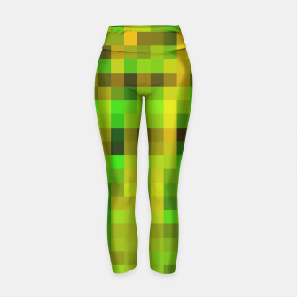 Miniatur pixel geometric square pattern abstract in green yellow brown Yoga Pants, Live Heroes