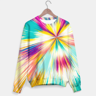 Miniatur psychedelic geometric abstract pattern in yellow blue pink Sweater, Live Heroes