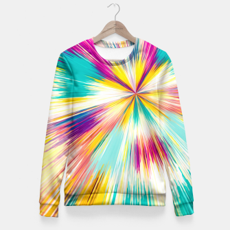 Miniaturka psychedelic geometric abstract pattern in yellow blue pink Fitted Waist Sweater, Live Heroes