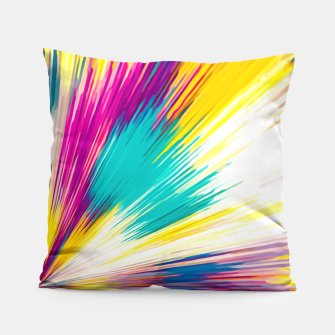 Imagen en miniatura de psychedelic geometric abstract pattern in yellow blue pink Pillow, Live Heroes