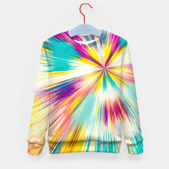 Miniatur psychedelic geometric abstract pattern in yellow blue pink Kid's Sweater, Live Heroes