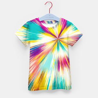 Miniatur psychedelic geometric abstract pattern in yellow blue pink Kid's T-shirt, Live Heroes