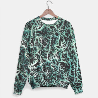 Miniatur vintage psychedelic geometric camouflage painting abstract in green white and black Sweater, Live Heroes