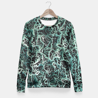 Miniaturka vintage psychedelic geometric camouflage painting abstract in green white and black Fitted Waist Sweater, Live Heroes