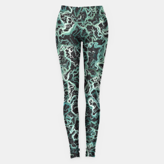 Miniatur vintage psychedelic geometric camouflage painting abstract in green white and black Leggings, Live Heroes