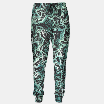 Miniaturka vintage psychedelic geometric camouflage painting abstract in green white and black Sweatpants, Live Heroes