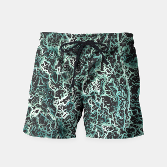 Miniaturka vintage psychedelic geometric camouflage painting abstract in green white and black Swim Shorts, Live Heroes