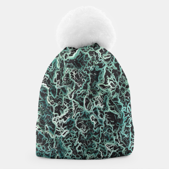 Imagen en miniatura de vintage psychedelic geometric camouflage painting abstract in green white and black Beanie, Live Heroes