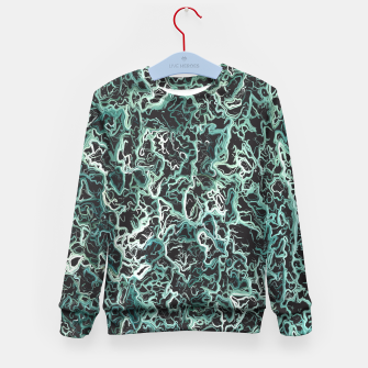 Miniatur vintage psychedelic geometric camouflage painting abstract in green white and black Kid's Sweater, Live Heroes