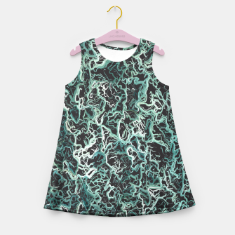 Miniatur vintage psychedelic geometric camouflage painting abstract in green white and black Girl's Summer Dress, Live Heroes
