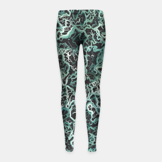 Miniaturka vintage psychedelic geometric camouflage painting abstract in green white and black Girl's Leggings, Live Heroes