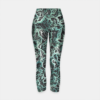 Miniaturka vintage psychedelic geometric camouflage painting abstract in green white and black Yoga Pants, Live Heroes