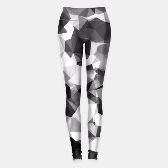 Thumbnail image of contemporary geometric polygon abstract pattern in black and white Leggings, Live Heroes
