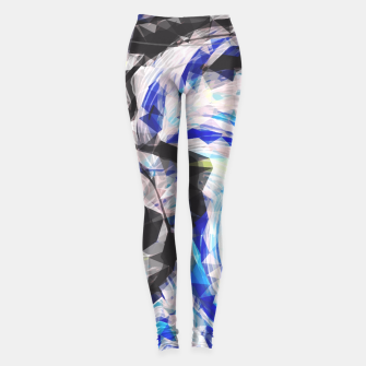 Thumbnail image of psychedelic geometric polygon pattern abstract in blue yellow black Leggings, Live Heroes