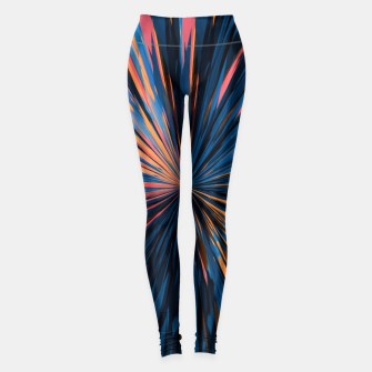 Thumbnail image of psychedelic splash painting abstract pattern in orange brown pink blue Leggings, Live Heroes