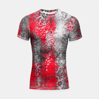 Thumbnail image of psychedelic geometric polygon shape pattern abstract in black and red Shortsleeve Rashguard, Live Heroes