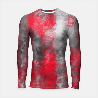 Miniature de image de psychedelic geometric polygon shape pattern abstract in red and black Longsleeve Rashguard , Live Heroes