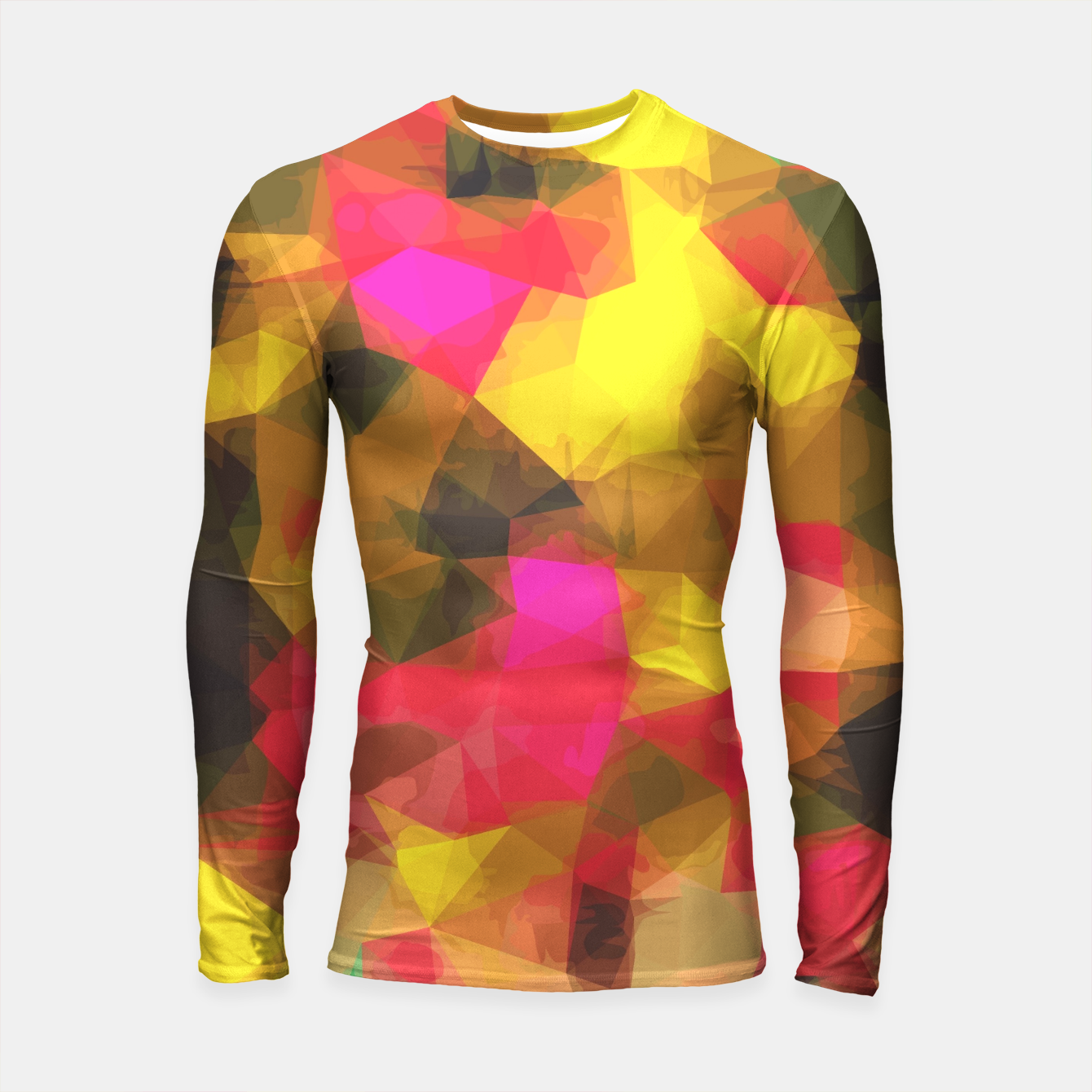 Foto psychedelic geometric polygon shape pattern abstract in pink yellow green Longsleeve Rashguard  - Live Heroes