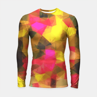 Miniature de image de psychedelic geometric polygon shape pattern abstract in pink yellow green Longsleeve Rashguard , Live Heroes