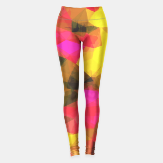 Thumbnail image of psychedelic geometric polygon shape pattern abstract in pink yellow green Leggings, Live Heroes