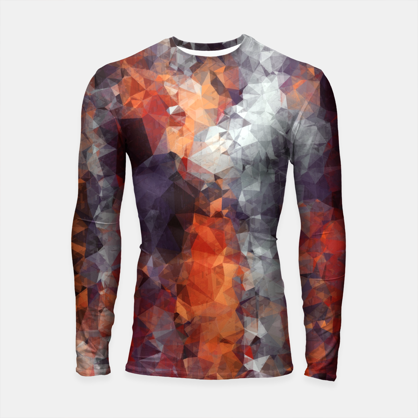 Foto psychedelic geometric polygon shape pattern abstract in orange brown red black Longsleeve Rashguard  - Live Heroes