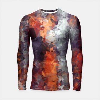 Miniatur psychedelic geometric polygon shape pattern abstract in orange brown red black Longsleeve Rashguard , Live Heroes